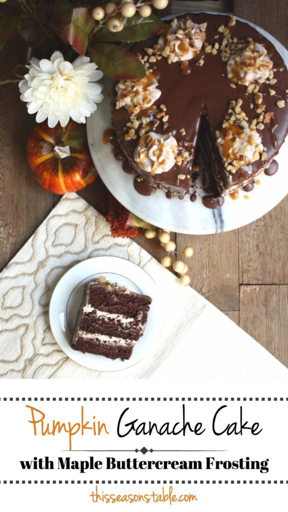 VEGAN PUMPKIN GANACHE CAKE with MAPLE BUTTERCREAM FROSTING