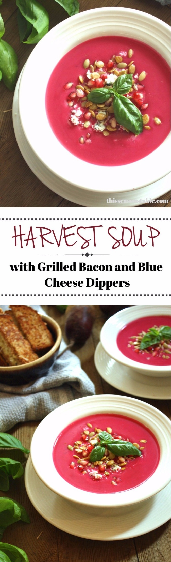 Loaded with apples, beets and seasonal root veggies for the perfect soup blend! Goes great with bacon and blue cheese stuffed bread dippers!