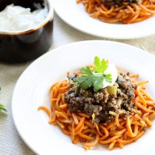 Skinny Beef Stroganoff with Sweet Potato Noodles