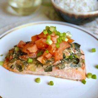 Spinach Dip Salmon Bake