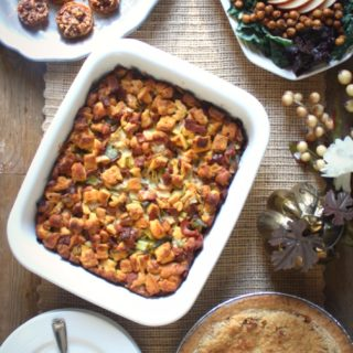Bacon, Leek and Gruyere Potato Bread Stuffing