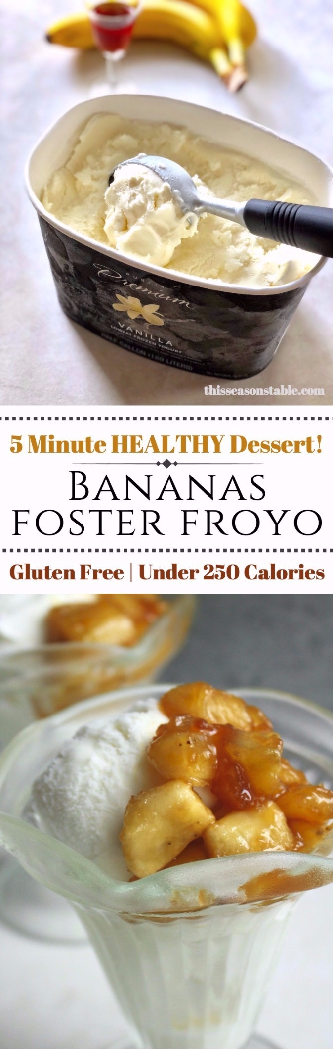 Enjoy the taste of decadent bananas foster without all the hassle! Done in 5 minutes and less than 250 calories for the perfect guilt free treat!